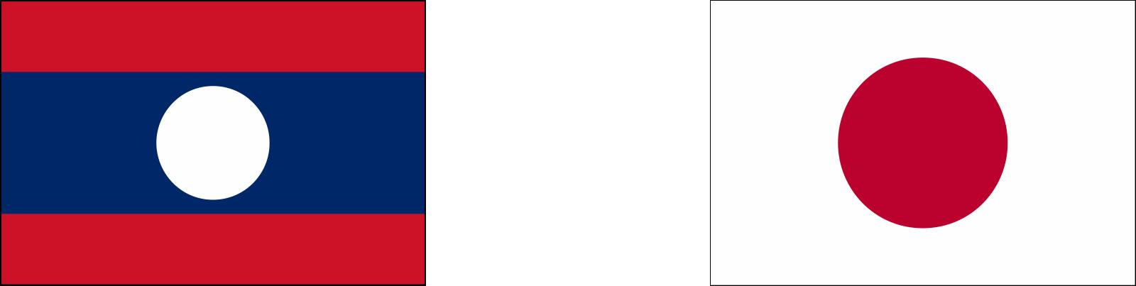 ラオス×日本の国旗